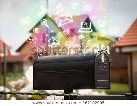 Kleurrijk iconen symbolen uit mailbox moderne Stockfoto © ra2studio