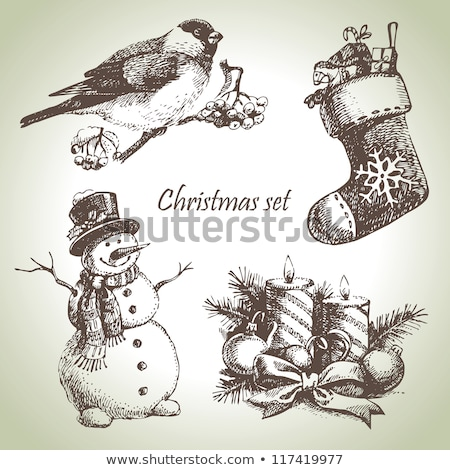 christmas card for xmas design hand drawn snowman stock photo © elmiko