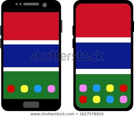 Przycisk Gambia banderą telefonu ramki Zdjęcia stock © lirch