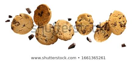 チョコレート · クッキー · 黒 · プレート · 孤立した · 白 - ストックフォト © kirill_m