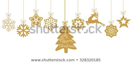 Christmas Menu Snowflakes - Gold Snowflake Background Stock photo © fenton