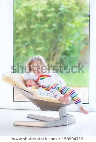 újszülött gyermek szék hintaszék stúdiófelvétel baba Stock fotó © gewoldi