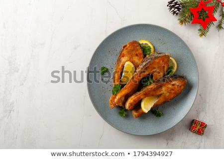 Frito carpa salada tomates alface Foto stock © Fotaw