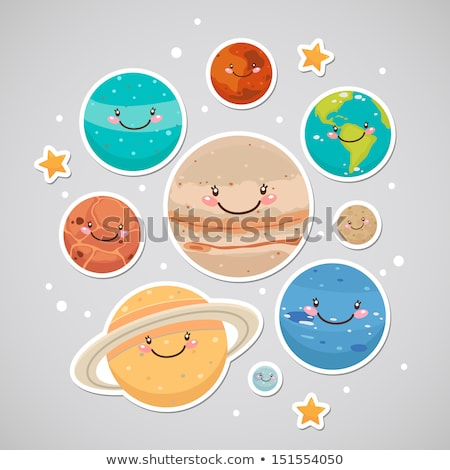 set of colorful vector globe stars stickers stock photo © burakowski