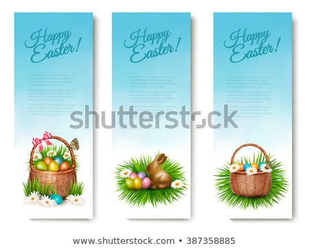 Tre naturale blu easter eggs basket Foto d'archivio © juniart
