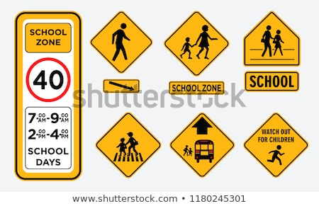Road sign - beware of pedestrians. Stock photo © EFischen