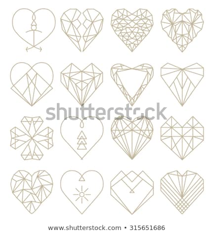 vector heart with diamond mosaic abstract design for valentines stock photo © dahlia