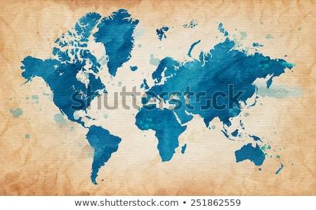 Мир карта Гранж старой бумаги текстуры старые Vintage Сток-фото © stevanovicigor