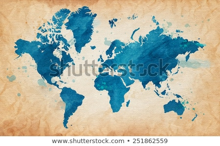 world map on grunge old paper texture stock photo © stevanovicigor