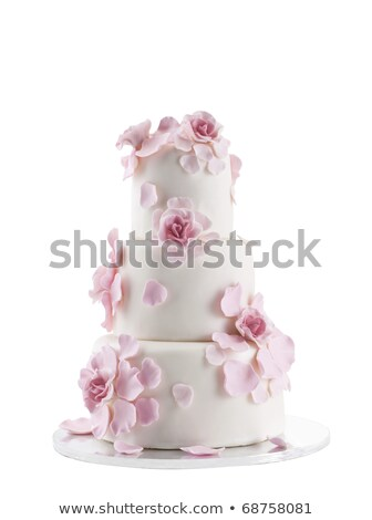 Marcipán esküvői torta izolált fehér étel esküvő Stock fotó © gsermek
