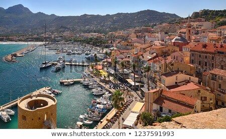 The harbour and citadel in Calvi in Corsica Stock photo © Joningall