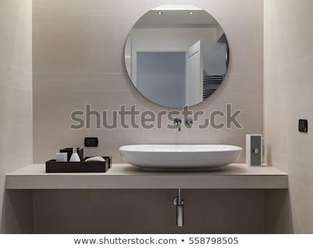 Washbasin in modern bathroom with mirror on the wall Stock photo © stevanovicigor