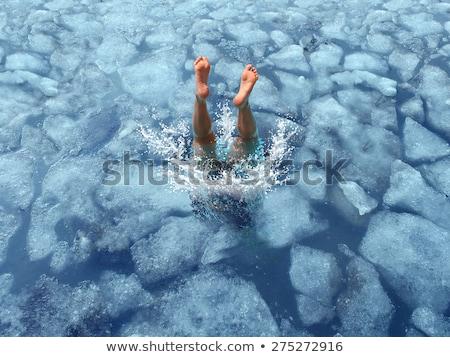 mujer · cubo · de · hielo · cara · morena · moda - foto stock © fisher
