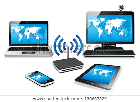 home wifi network internet via router on laptop stock photo © designers