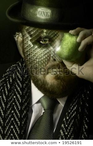 man · rode · appel · witte · shirt · stropdas - stockfoto © nejron