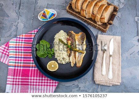 seabass plated meal stock photo © neillangan