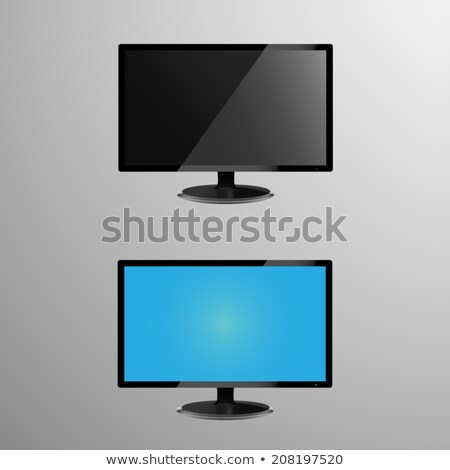 Realistic illustration of an LCD monitor with editable screen, plus screen when its idle or off Stock photo © Mischoko