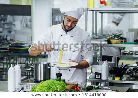 Chef restaurante italiano vegetariano salada prato comida Foto stock © shivanetua