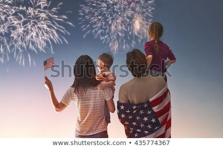 bandeira · americana · fogos · de · artifício · exibir · abstrato · luz · azul - foto stock © piedmontphoto