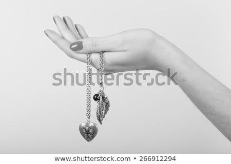 рук серебро ожерелье человека студию Сток-фото © feelphotoart