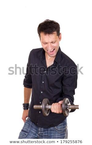 állandó határozott férfi fekete póló emel Stock fotó © feelphotoart
