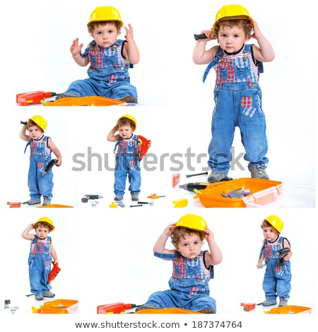 Collage of little boy playing with tools Stock photo © erierika