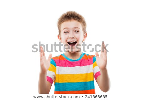 amazed or surprised child boy showing large size stock photo © ia_64