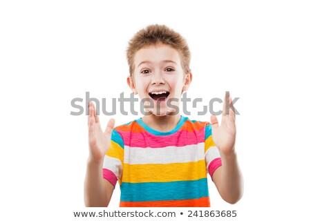 Verwonderd verwonderd kind jongen tonen groot Stockfoto © ia_64