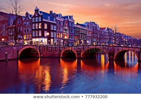Anochecer Amsterdam canal hermosa luz Foto stock © joyr