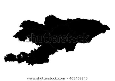Silhouet kaart Kirgizië teken witte opschrift Stockfoto © mayboro