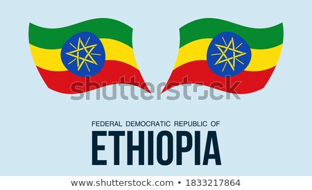 Map on flag button of Federal Democratic Republic of Ethiopia Stock photo © Istanbul2009