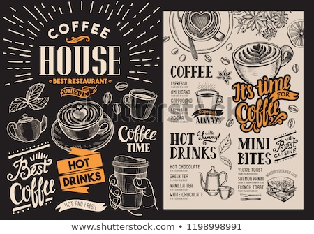 coffee shop label on food and drink background stock photo © vectorikart