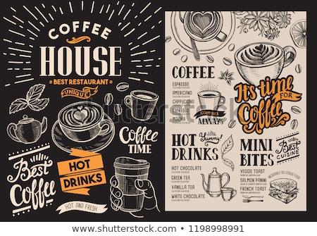 Cafetería etiqueta alimentos beber moderna vector Foto stock © vectorikart