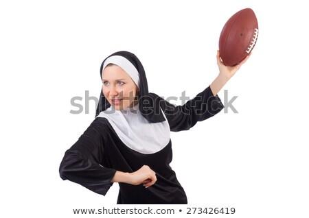 довольно монахиня мяч для регби изолированный белый женщину Сток-фото © Elnur