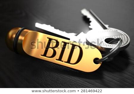 Stockfoto: Sleutels · woord · bod · gouden · label · zwarte