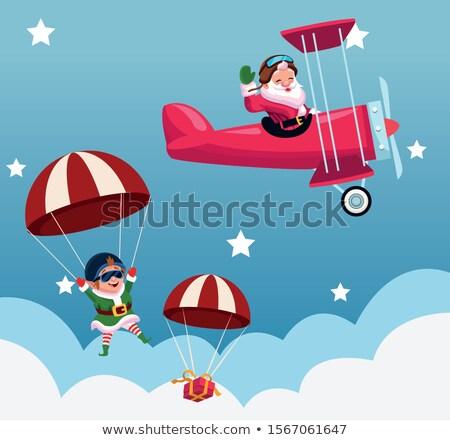 Navidad · avión · dibujado · a · mano · ilustración · cielo - foto stock © phakimata