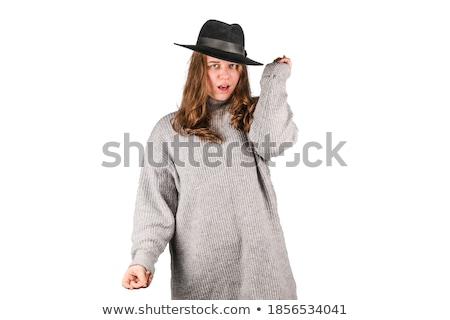 Mujer gangster aislado blanco moda traje Foto stock © Elnur