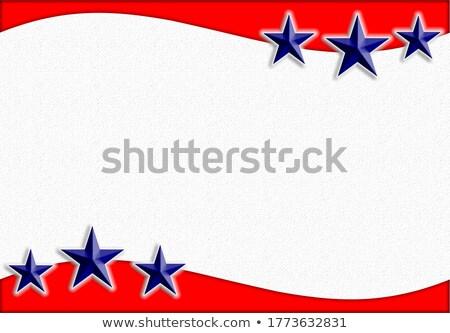 Stock fotó: Hazafias · keret · 3D · csillagok · piros · fehér
