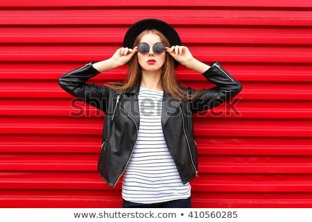 lány · portré · divat · smink · fehér · háttér - stock fotó © konradbak