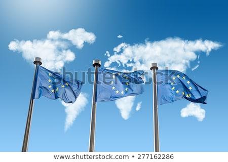 EU · zászlók · világtérkép · felhők · fehér · kék · ég - stock fotó © artjazz