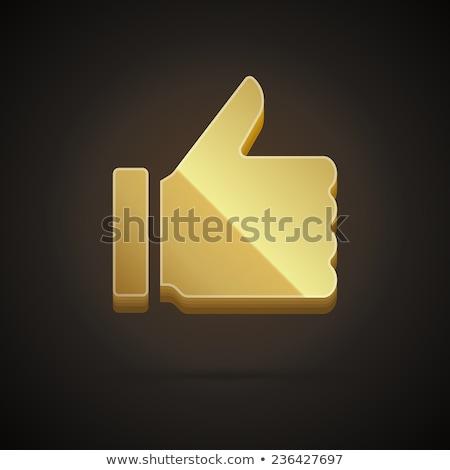 Thumbs Up Golden Vector Icon Button Stock photo © rizwanali3d