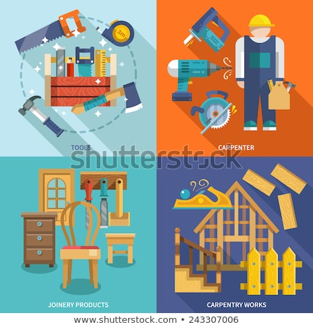 Carpentry works icons flat set with tools carpenter joinery products Stock photo © netkov1