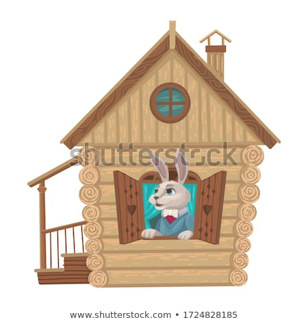 Stock photo: Wooden House with a Face, illustration