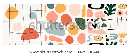 vector fabric circles abstract seamless pattern background with hand drawn elements stock photo © rommeo79
