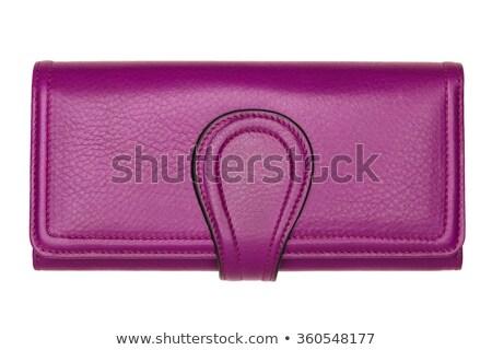 Stock fotó: Lila · bőr · pénztárca · izolált · fehér · divat