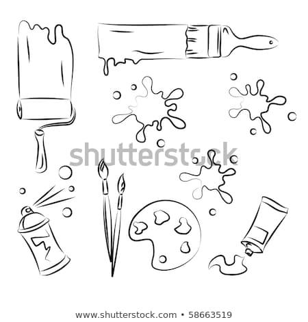 Живопись вектора эскиз набор граффити черный Сток-фото © igorij