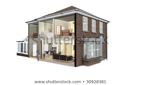 model house resting on house plans stock photo © feverpitch
