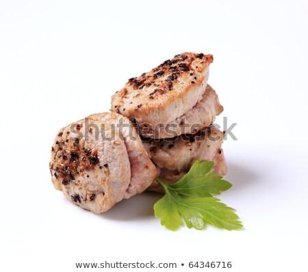 grillezett · disznóhús · fából · készült · vágódeszka · levél · hús - stock fotó © digifoodstock