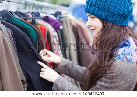 женщину одежды блошиный рынок девушки улице Сток-фото © zurijeta