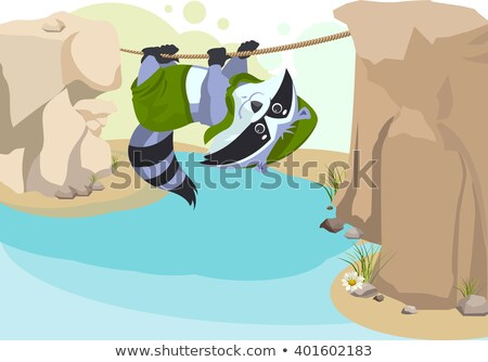 Scout raccoon Mountaineer rope. Scout crossing river on rope Stock photo © orensila